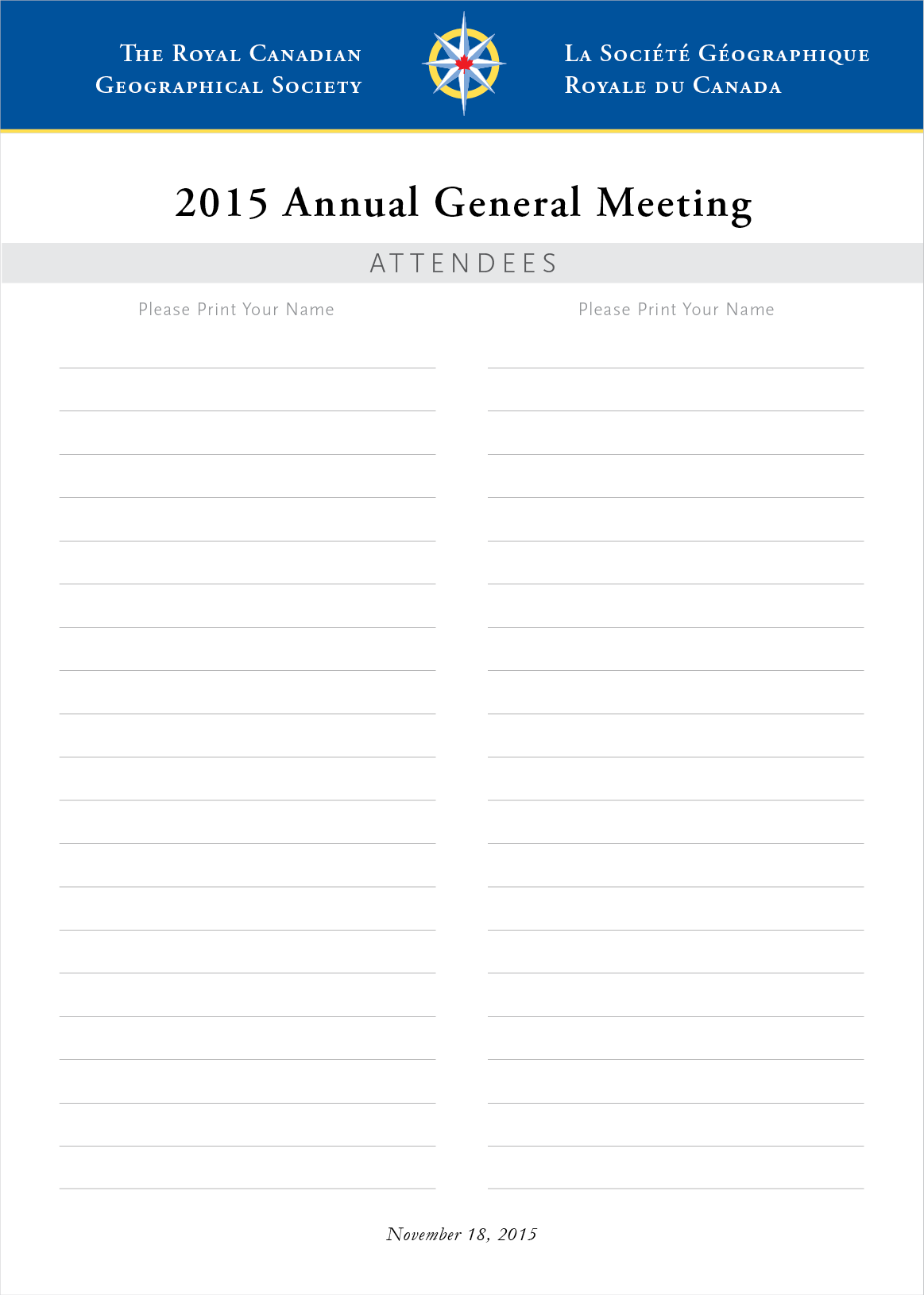 Annual General Meeting Sign in sheet